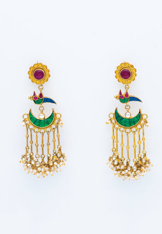 GREEN AND RED/PINK MEENAKARI PAINTED GOLD AND PEARL DROP EARRINGS