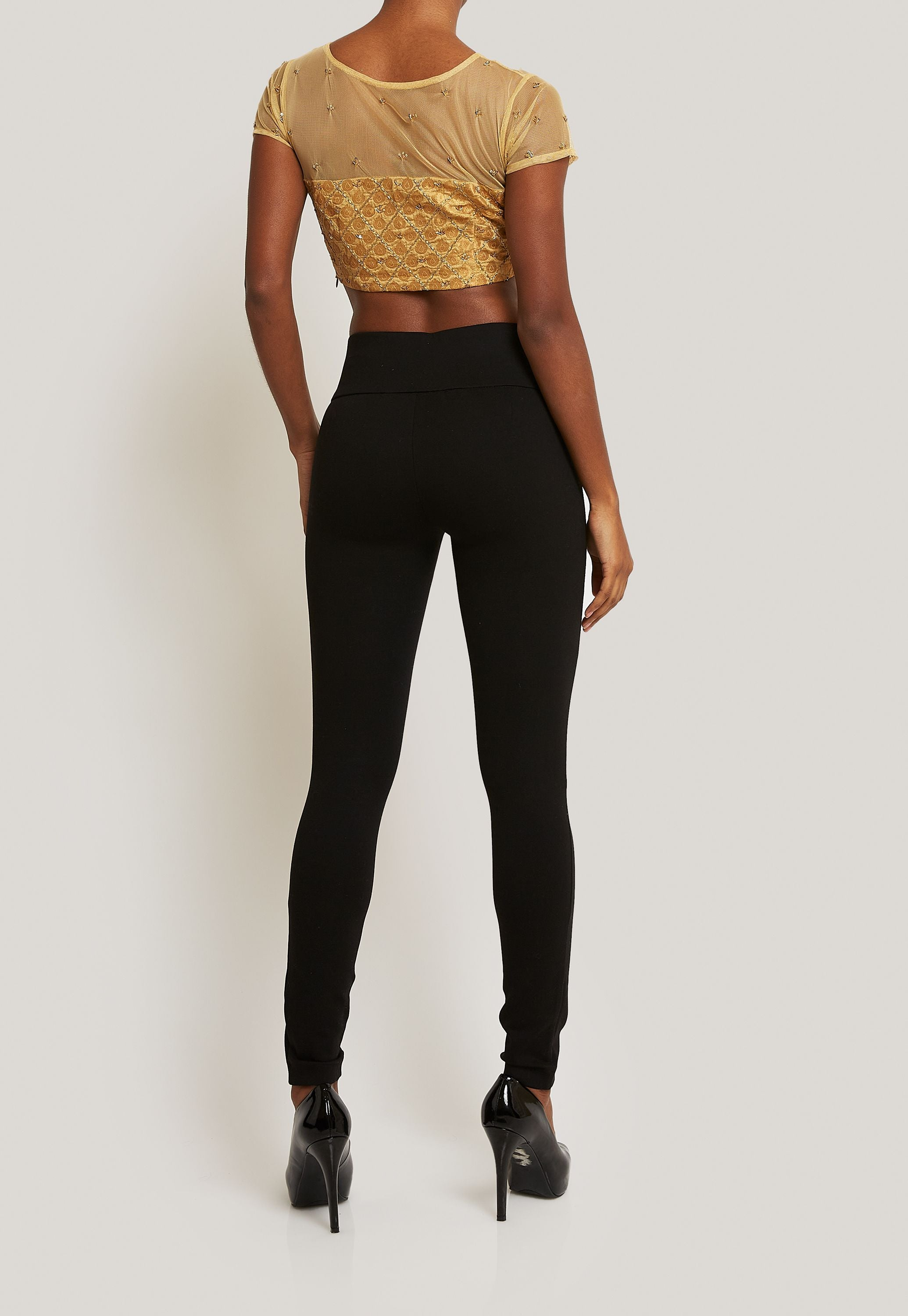 GOLD BLOUSE WITH LATTICE PATTERN AND SHEER DETAIL