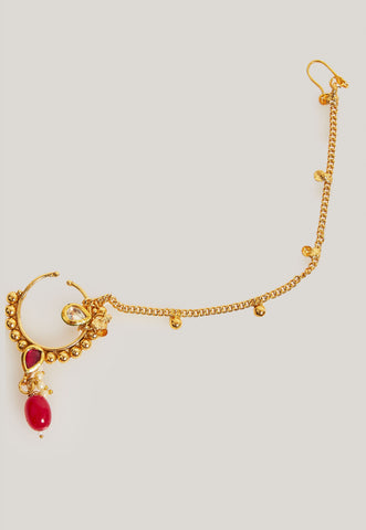 GOLD PLATED HANDCRAFTED KUNDAN, SIMULATED RUBIES AND PEARLS NOSE RING