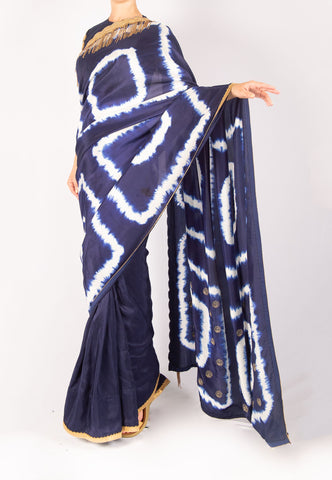 NAVY BLUE AND WHITE SAREE WITH CHAIN DETAIL