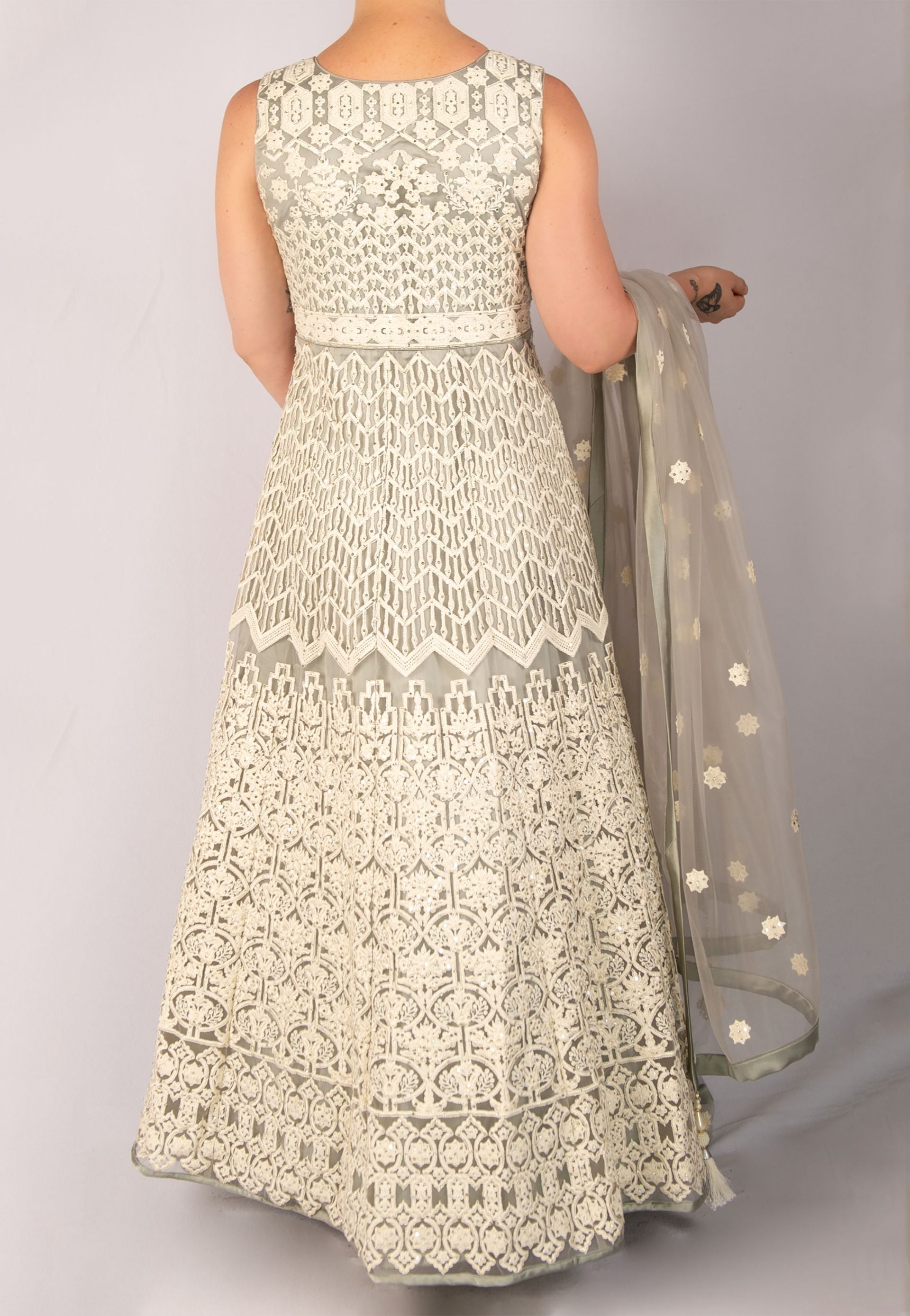 GRAY AND OFF-WHITE ANARKALI