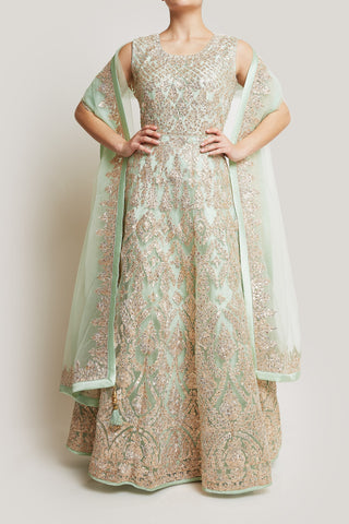 FULLY EMBROIDERED MINT GREEN ANARKALI WITH GOLD WORK