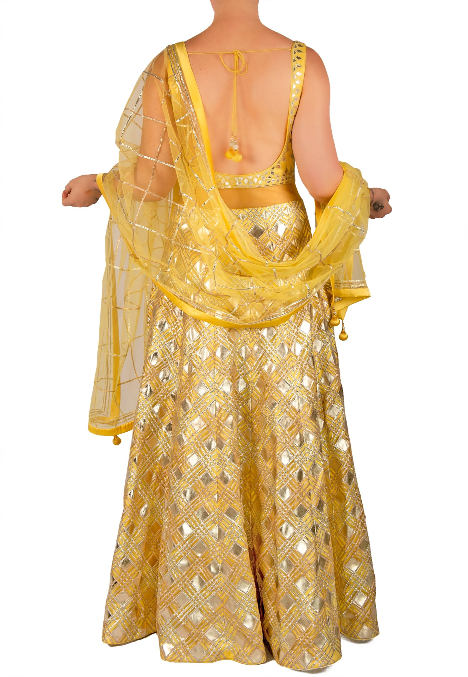 YELLOW AND SILVER ANARKALI WITH GOTA PATTI DETAIL
