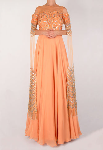 PEACH EMBROIDERED SEQUINED GOWN WITH STOLE SLEEVES