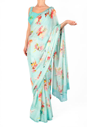 PASTEL BLUE FLORAL PRINT SAREE WITH SWAROVSKI DETAIL