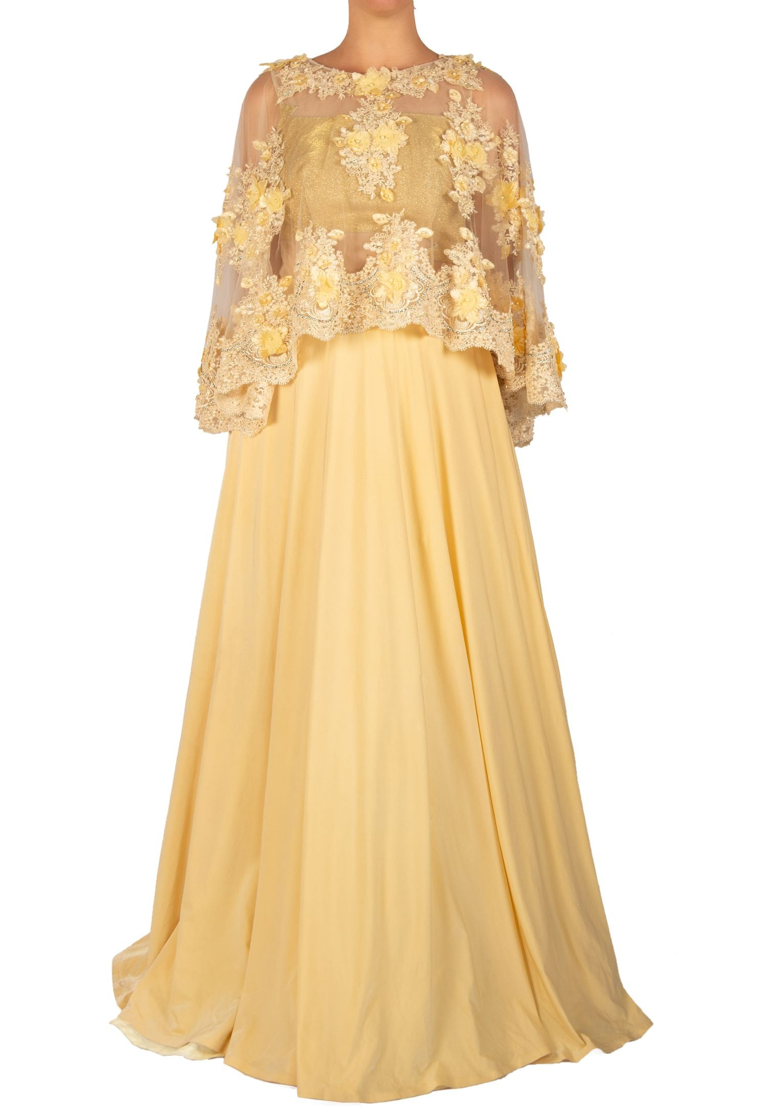 YELLOW GOWN WITH A NET CAPE TOP