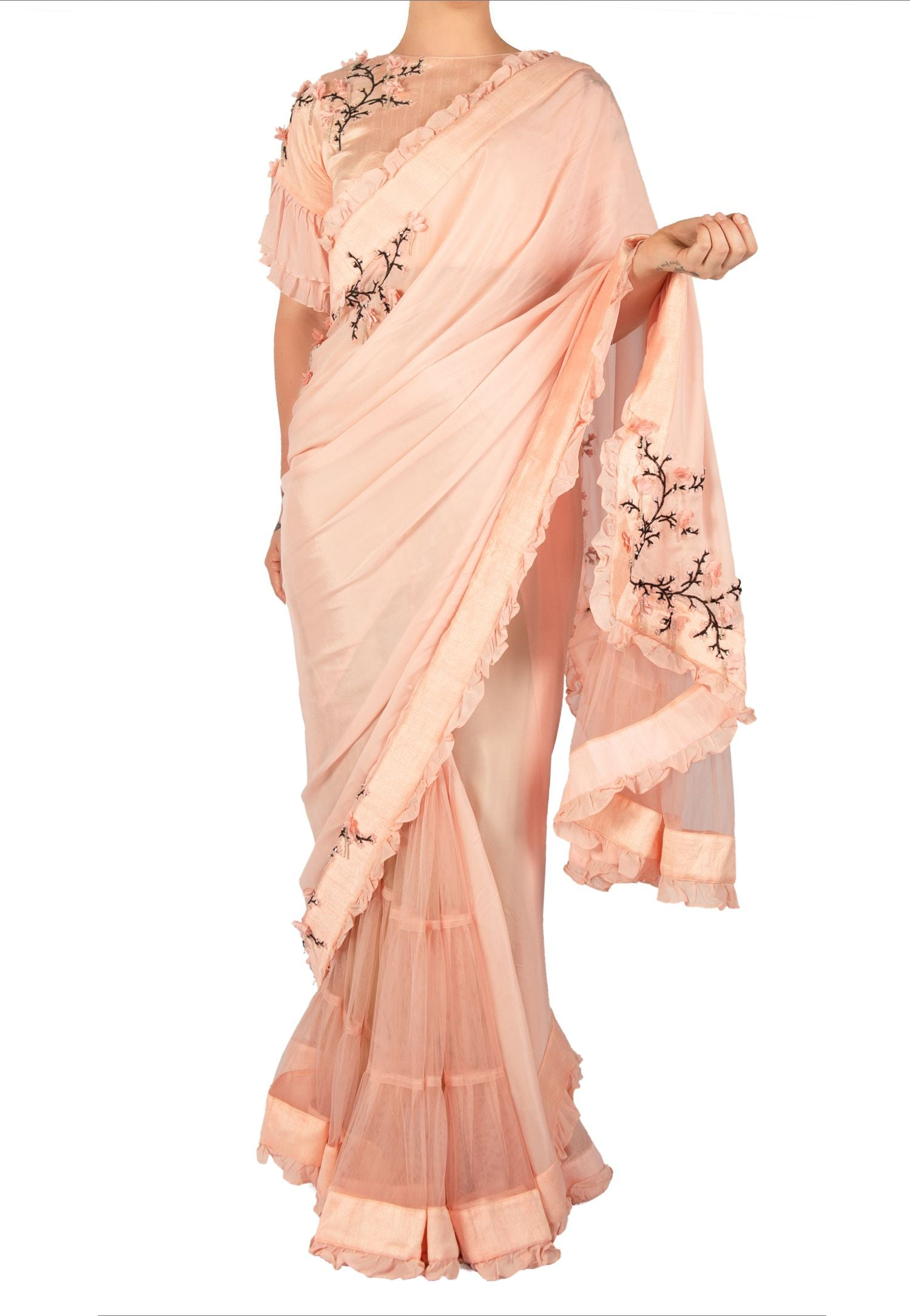 PEACH SAREE WITH NET PLEATS AND CHERRY BLOSSOM DETAIL