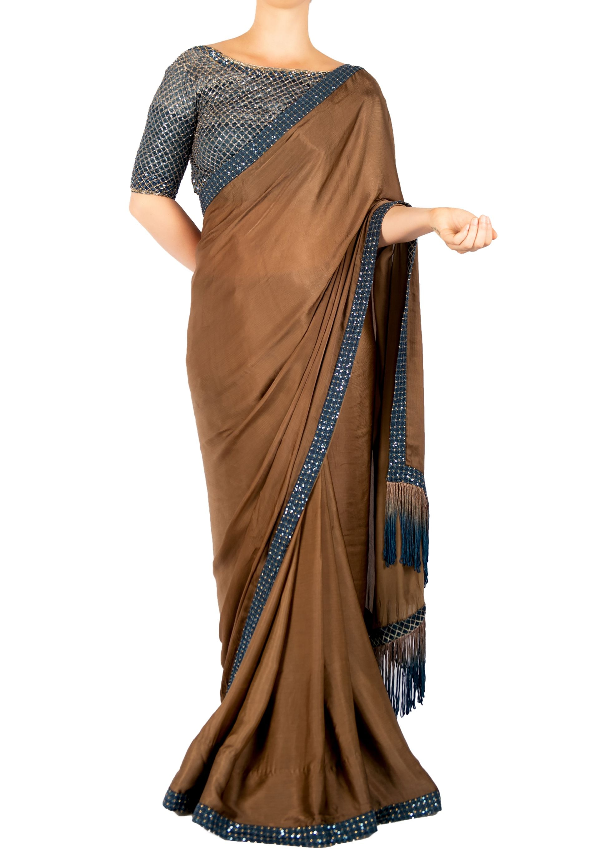 CREPE SAREE WITH CRYSTALS AND SEQUIN, TASSLE DETAIL