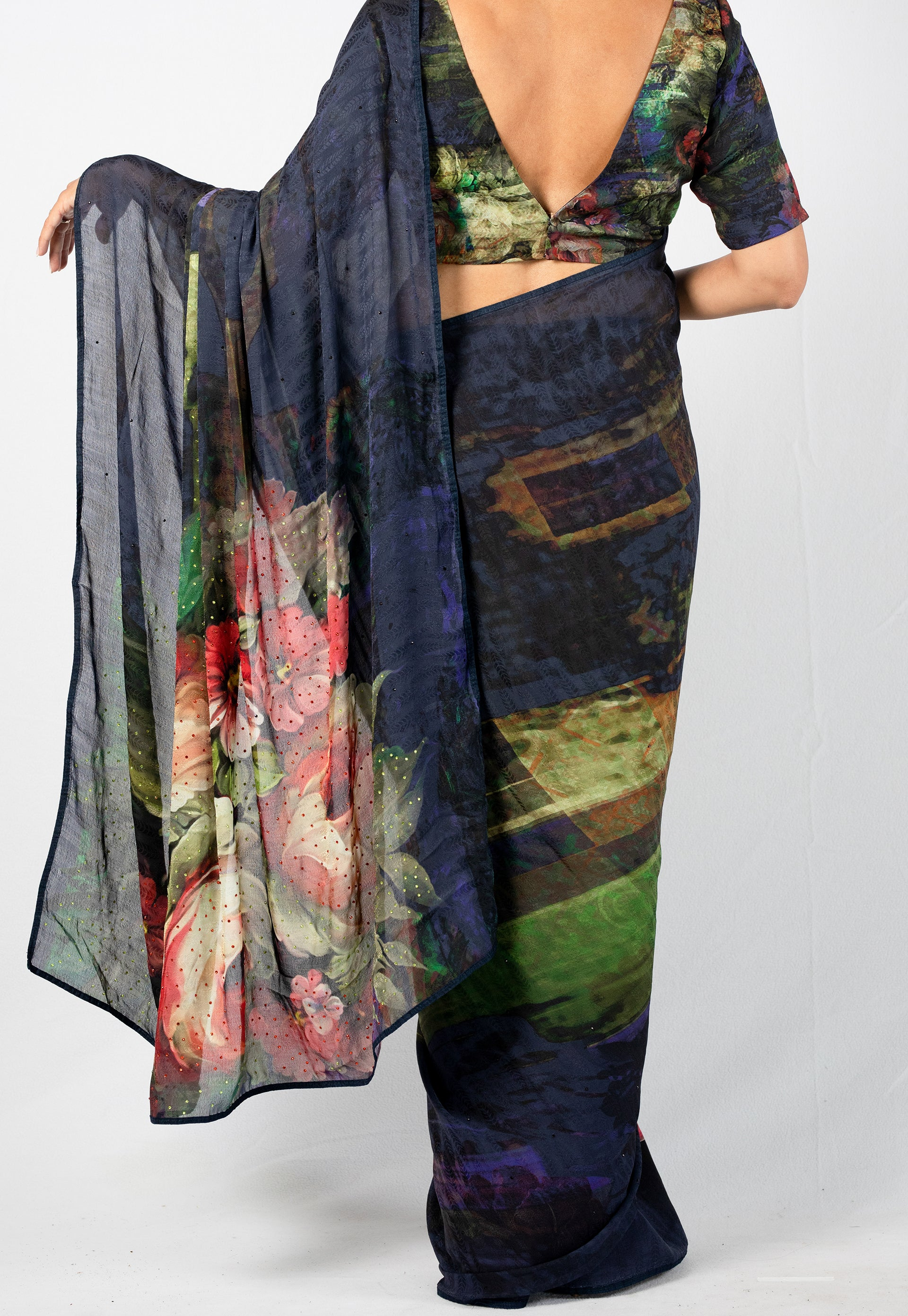 LIGHTWEIGHT PRINTED SILK SAREE WITH CRYSTAL DETAIL