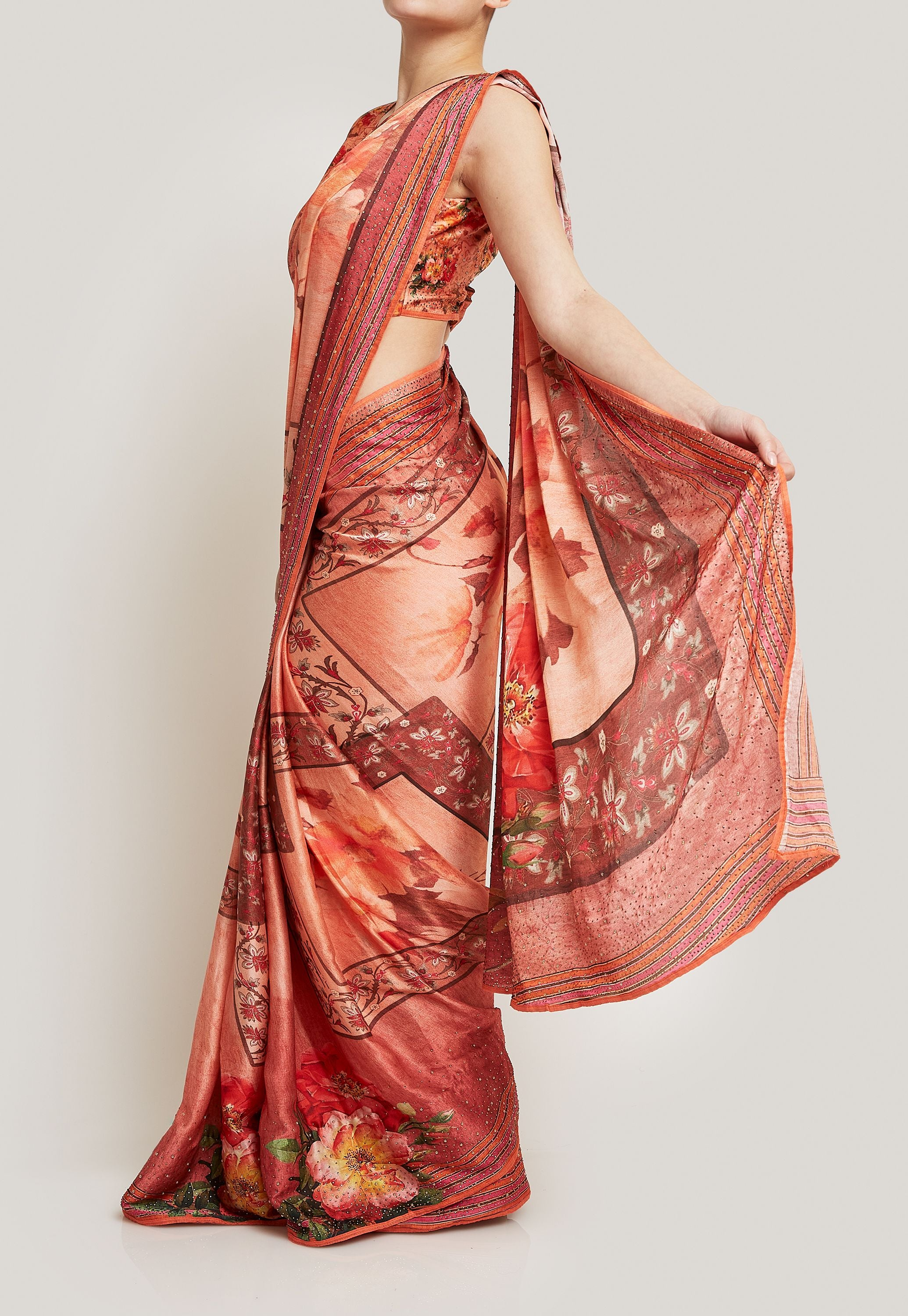 PEACH CREPE SAREE WITH SWAROVSKI DETAIL