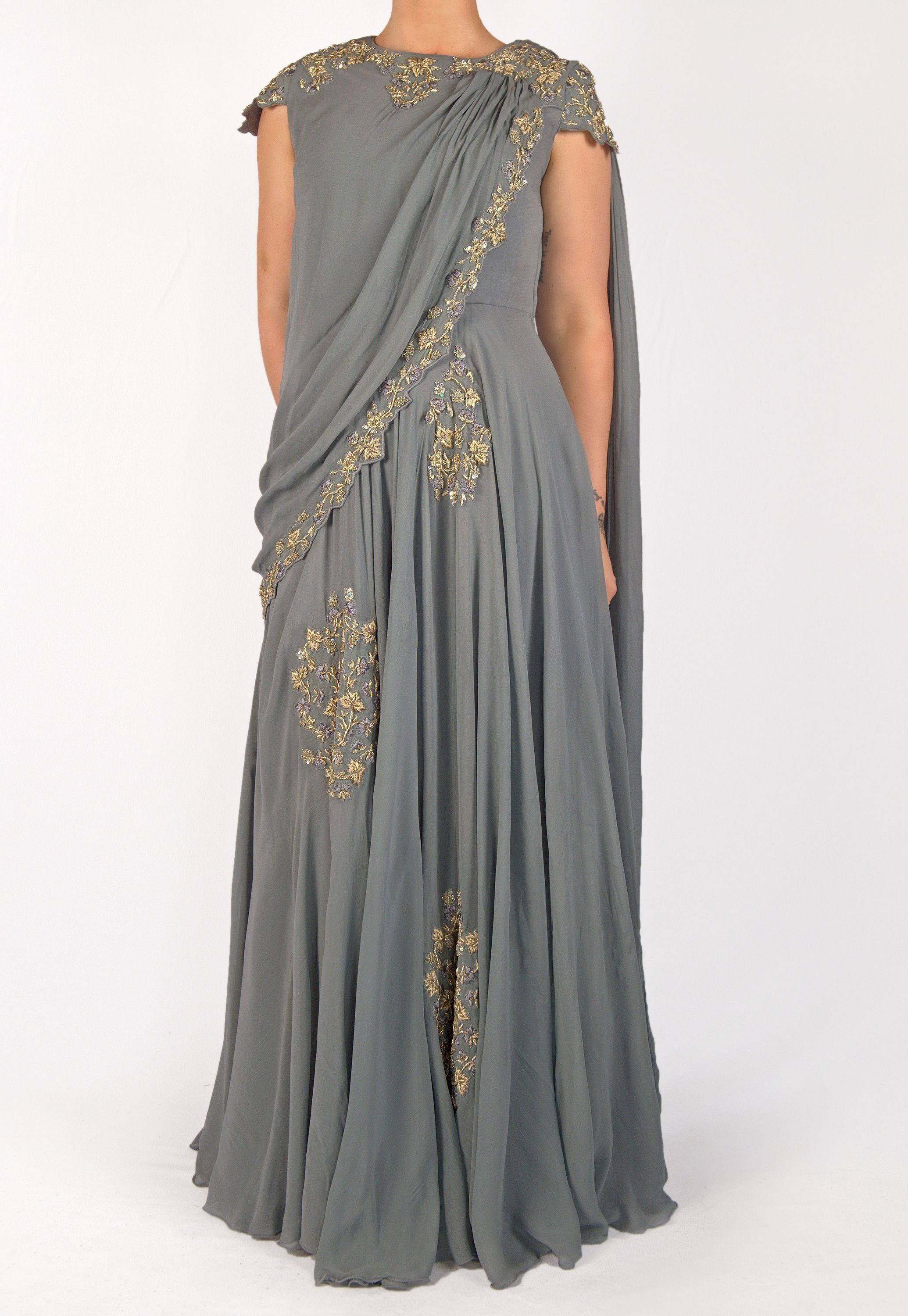 GRAY GEORGETTE GOWN WITH MUTED GOLD ZARDOZI