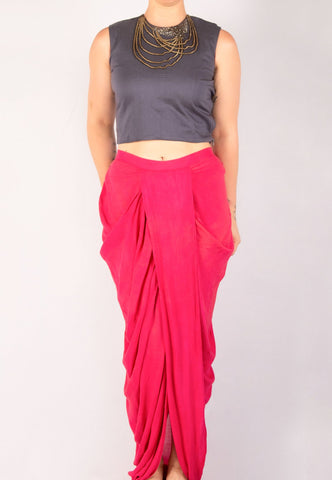 ELEGANT SILK BLOUSE WITH CONTRASTING SILK DHOTI PANTS