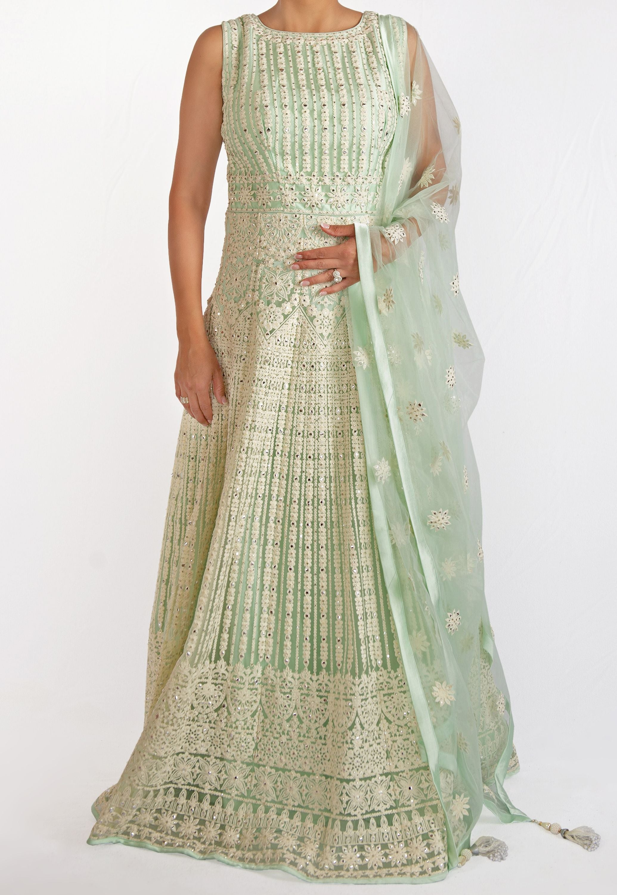 FULLY EMBROIDERED ANARKALI WITH SWAROVSKI CRYSTALS