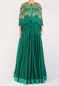 EMERALD GREEN CAPE GOWN WITH GOLD ZARDOZI