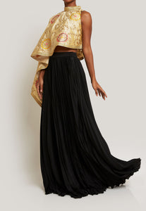 FUN AND FLIRTY EMBROIDERED CAPE TOP WITH A PLEATED SKIRT