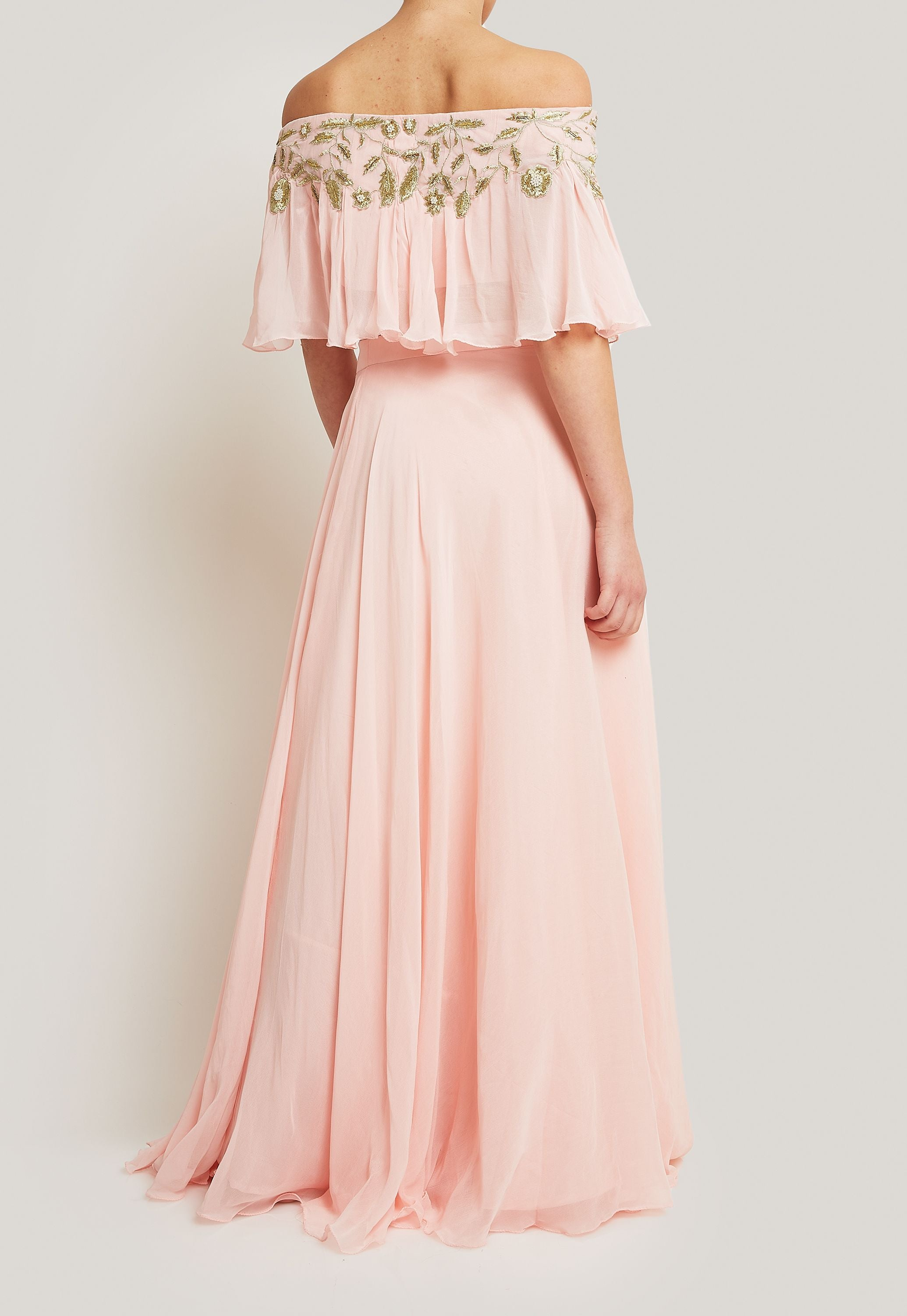 PINK FLOWY OFF SHOULDER EMBROIDERED CROP TOP PAIRED WITH A MATCHING FLOWY SKIRT