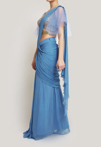 BLUE STITCHED SAREE WITH A BELT