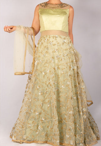PASTEL GREEN ANARKALI WITH GOLD ZARDOZI