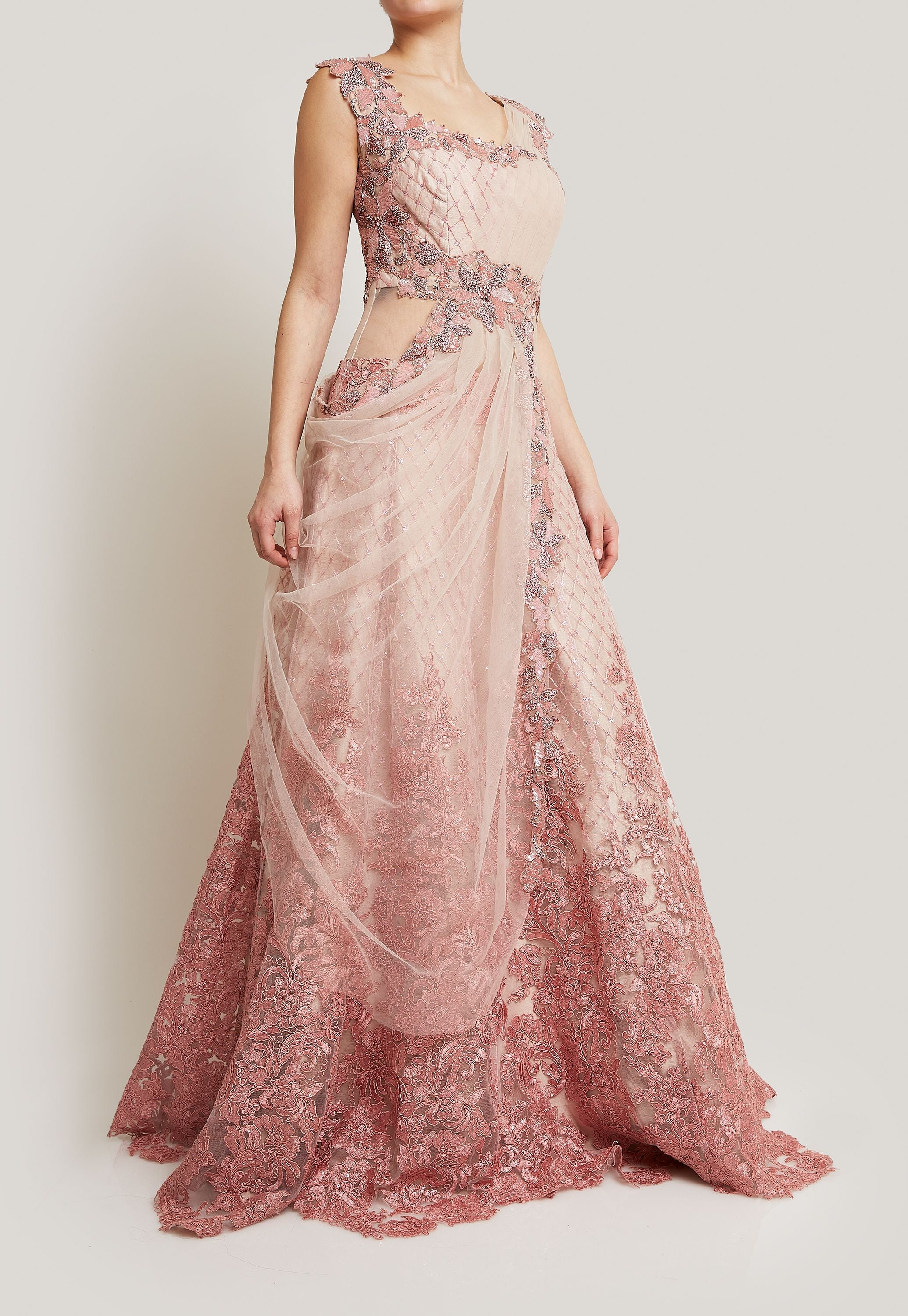 PINK NET SAREE GOWN WITH SEQUIN FLORETS