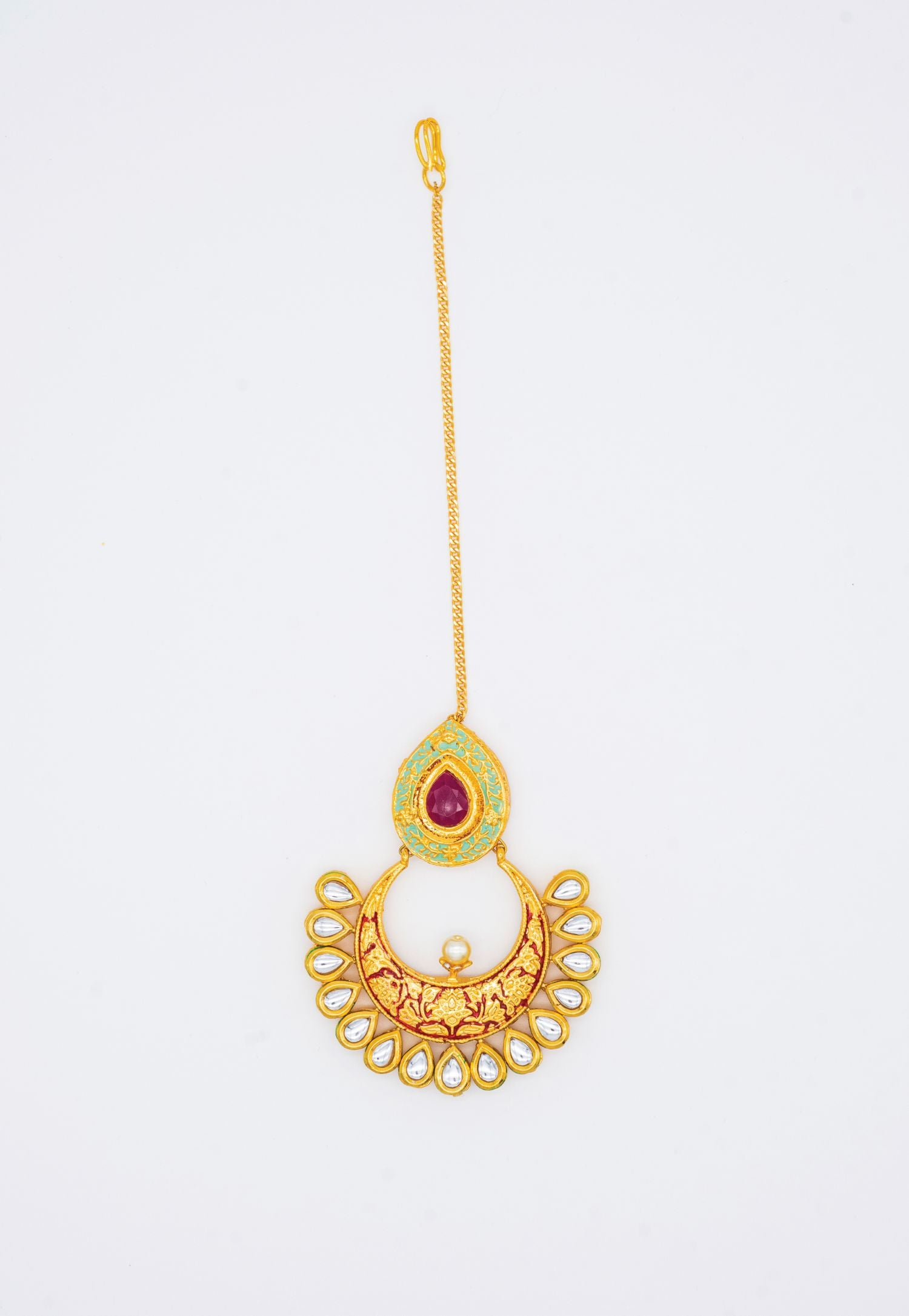 GOLD KUNDAN AND RED ENAMEL MAANG TIKKA