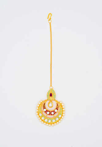 GOLD KUNDAN, MINT GREEN AND RED ENAMEL MAANG TIKKA
