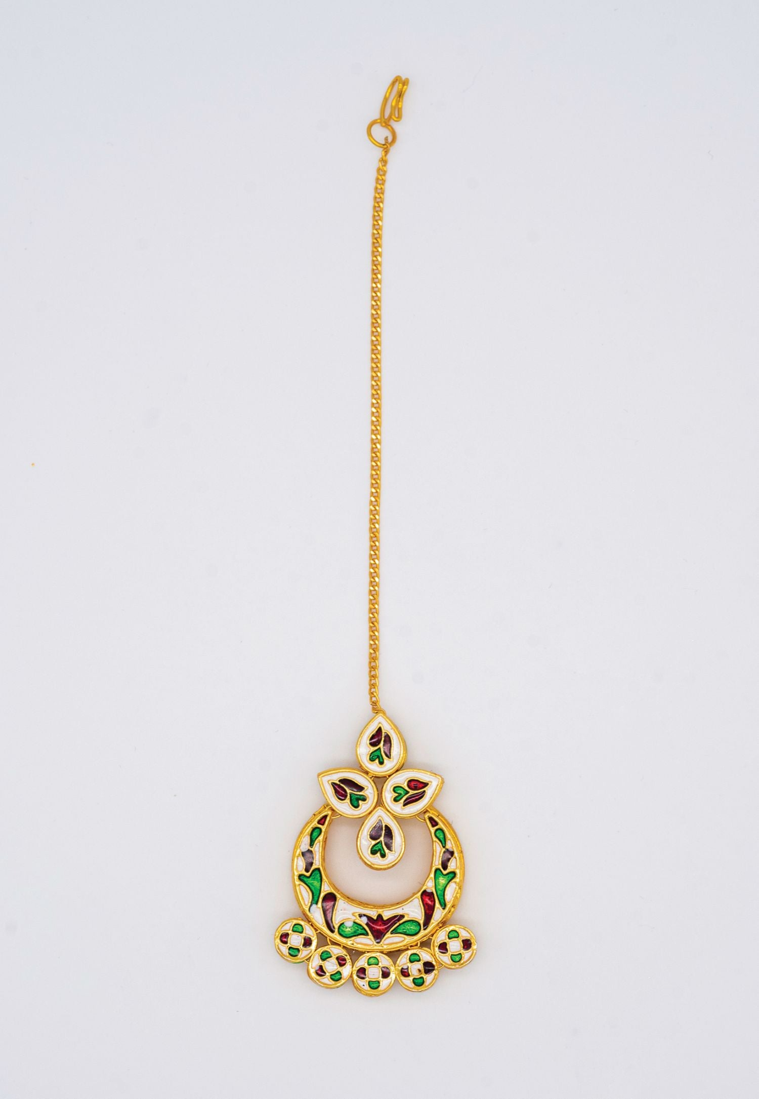 GOLD MULTICOLORED KUNDAN MAANG TIKKA