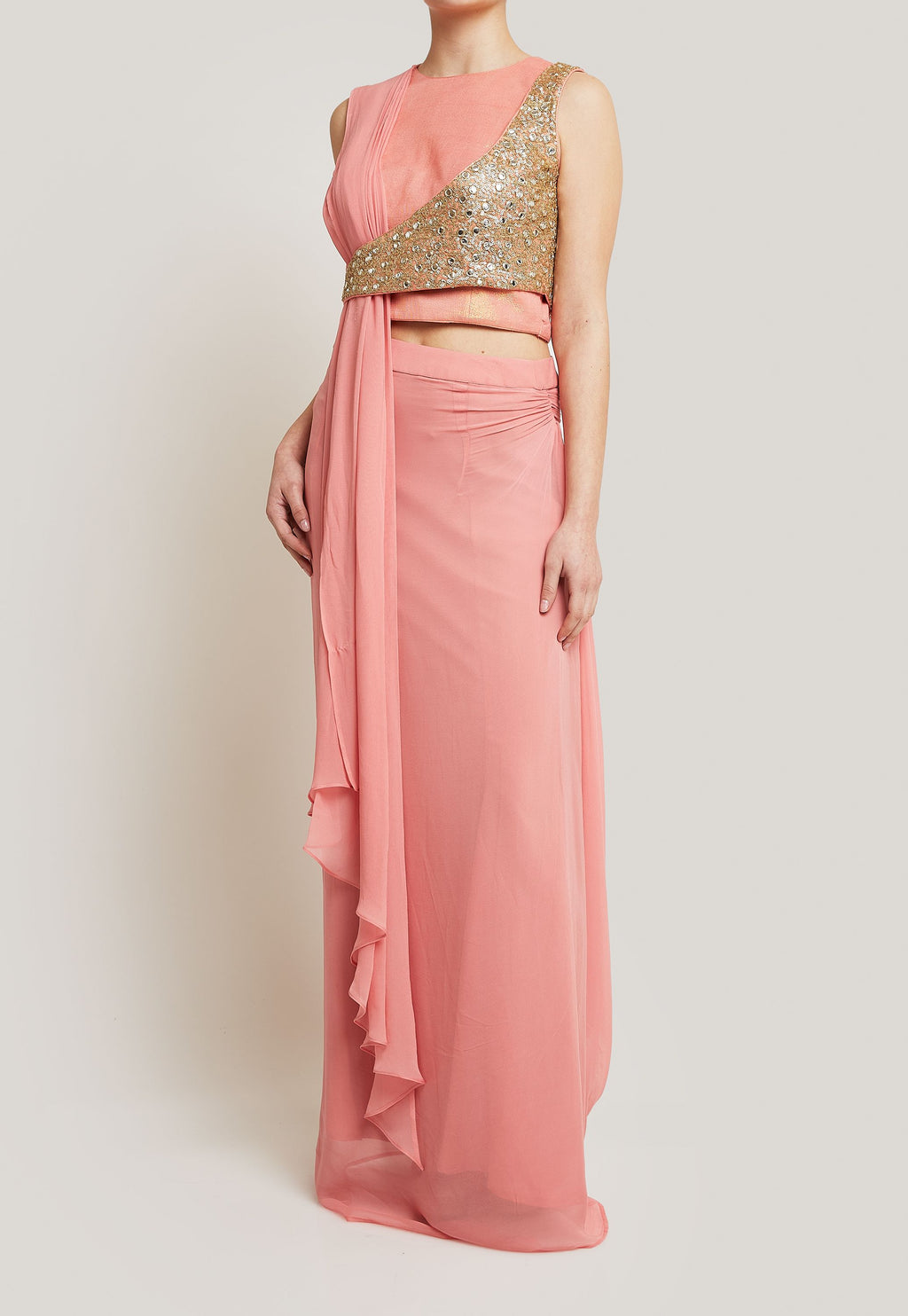 CORAL PINK STITCHED SAREE AND BLOUSE WITH A UNIQUE SEQUINED OVERLAY