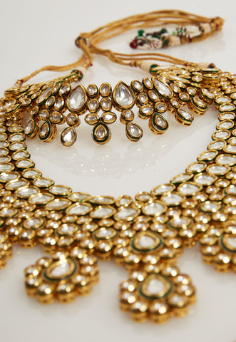 LONG AND SHORT GOLD KUNDAN NECKLACES SET
