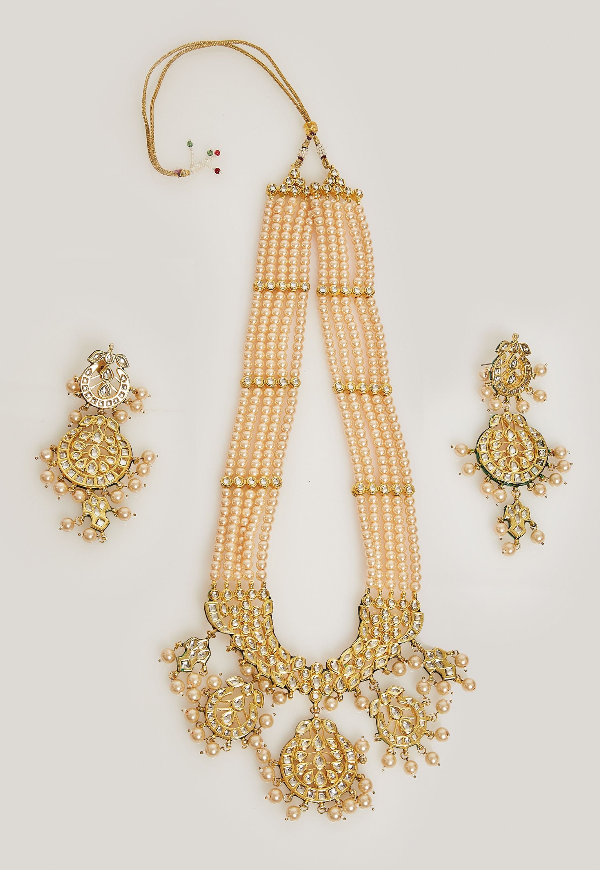 KUNDAN PEARL LONG RANI NECKLACE SET BY TINTED TEAL