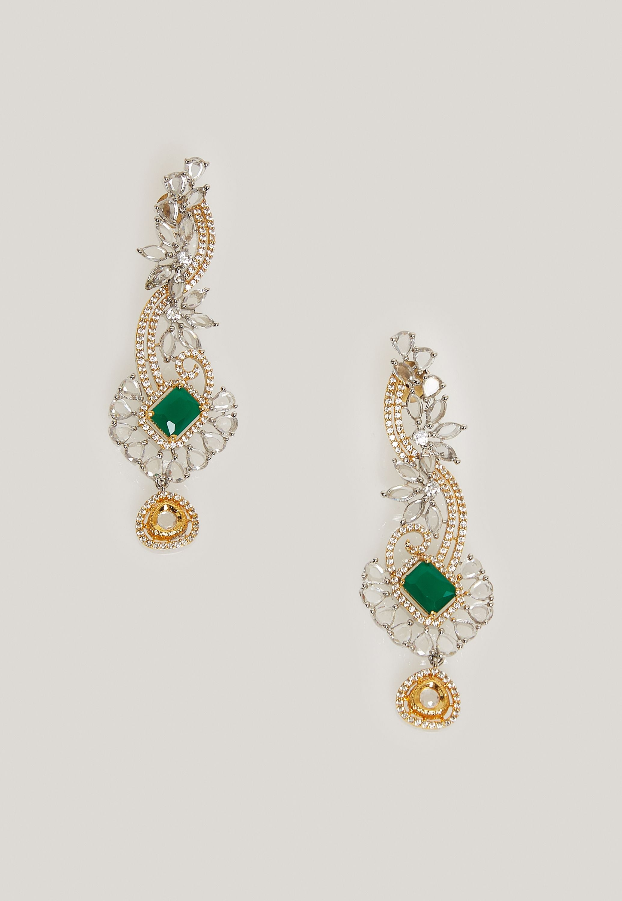 TINTED TEAL - CUBIC ZIRCONIA, SIMULATED EMERALDS WITH PEARL EARRINGS