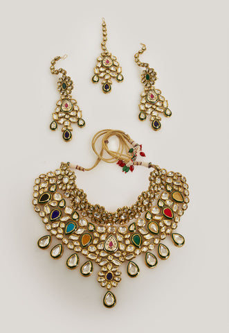 EXQUISITE MULTICOLORED BRIDAL KUNDAN NECKLACE SET