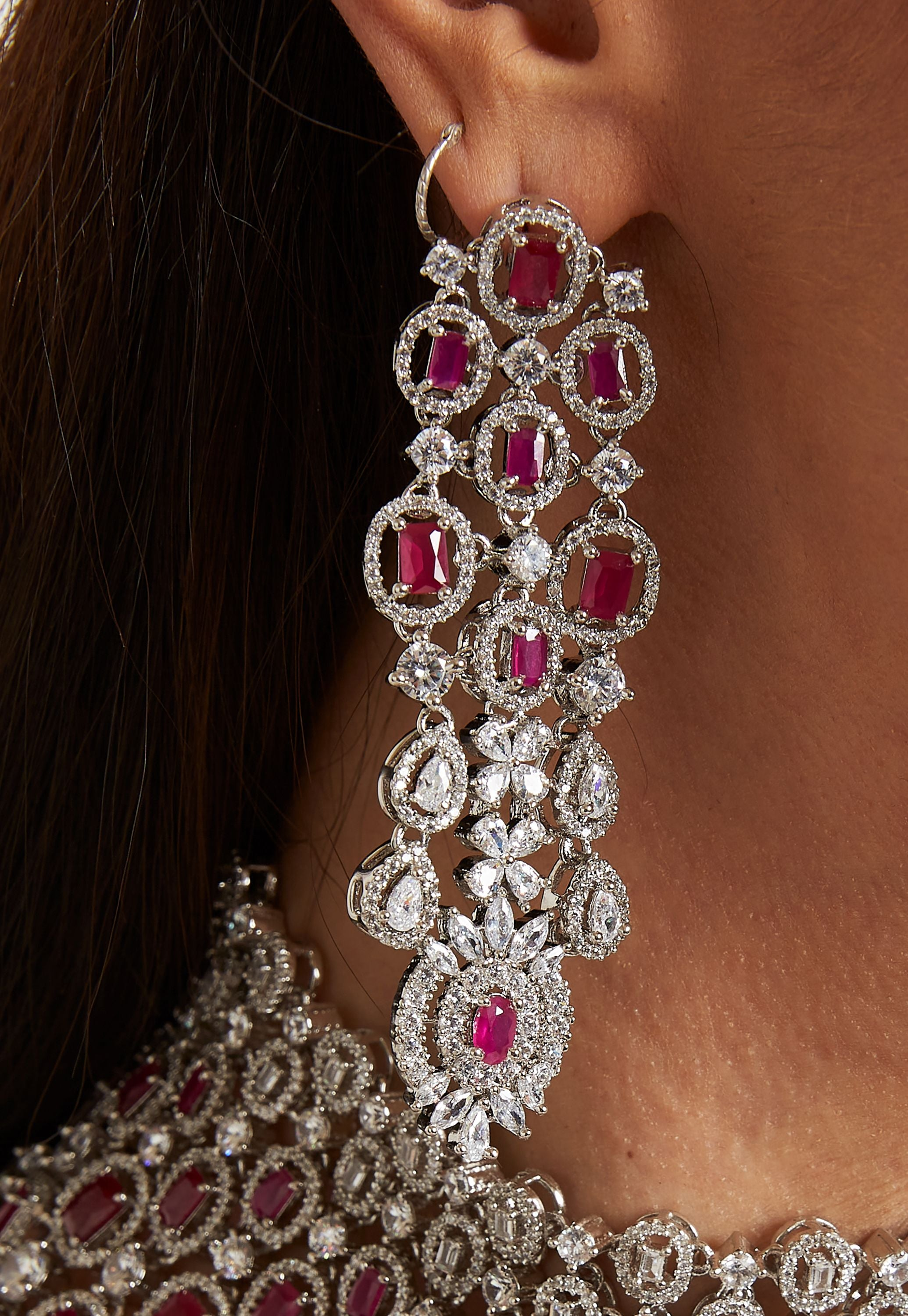 SILVER, RUBY AND CUBIC ZIRCONIA NECKLACE SET
