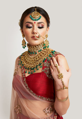 GOLD KUNDAN AND EMERALD BRIDAL SET
