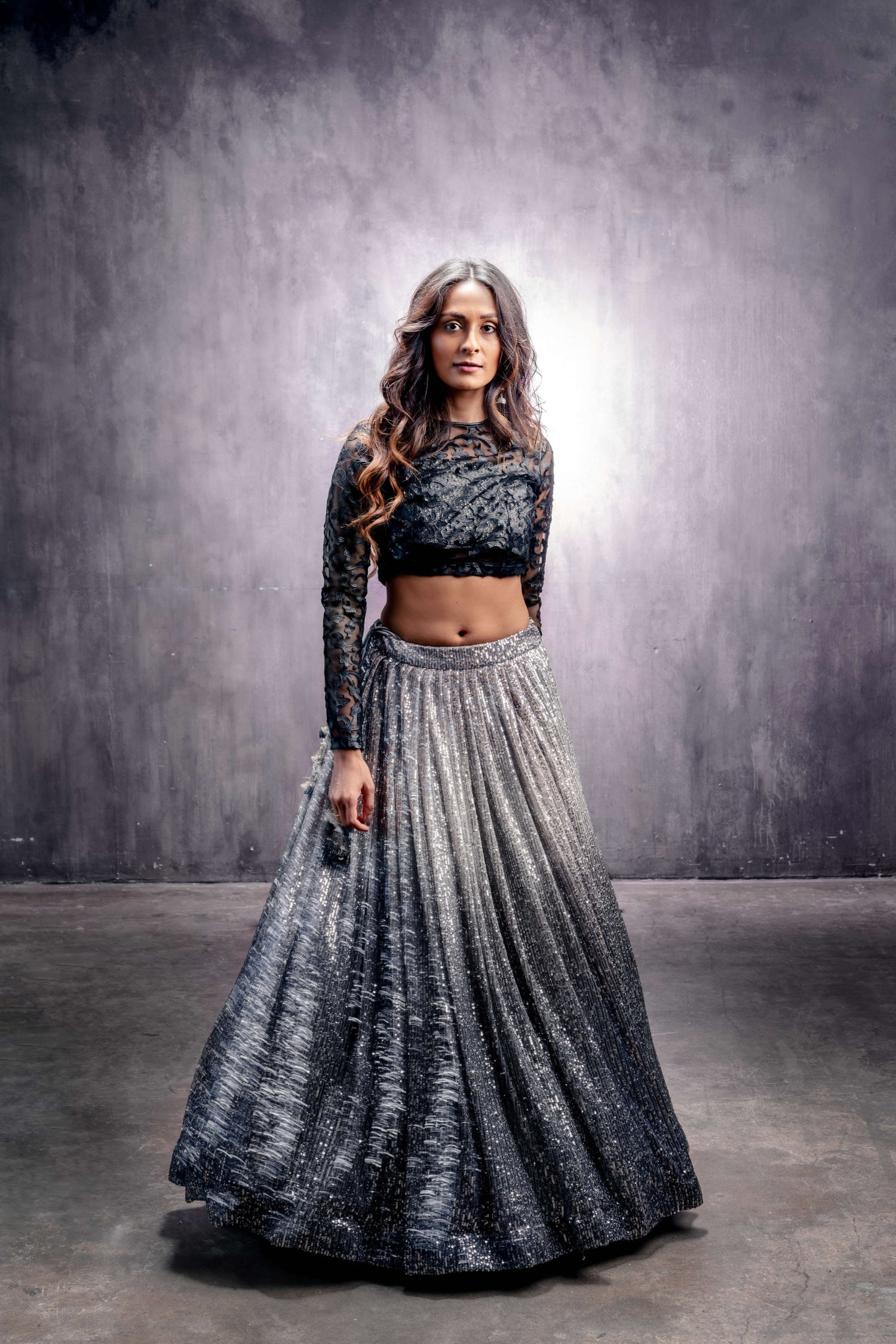OMBRE SILVER/GRAY SEQUINED LEHENGA WITH BEADED BLOUSE OR BLACK LACE BLOUSE