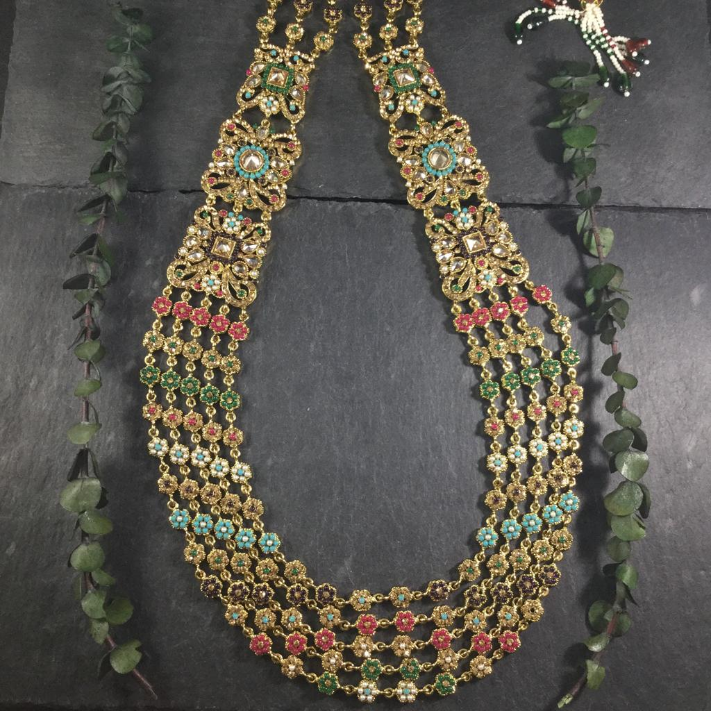 "A MULTICOLORED ""CHANTELLE"" SET BY REEMAT DESIGN WITH GORGEOUS MATCHING EARRINGS AND A MAANG TIKKA"