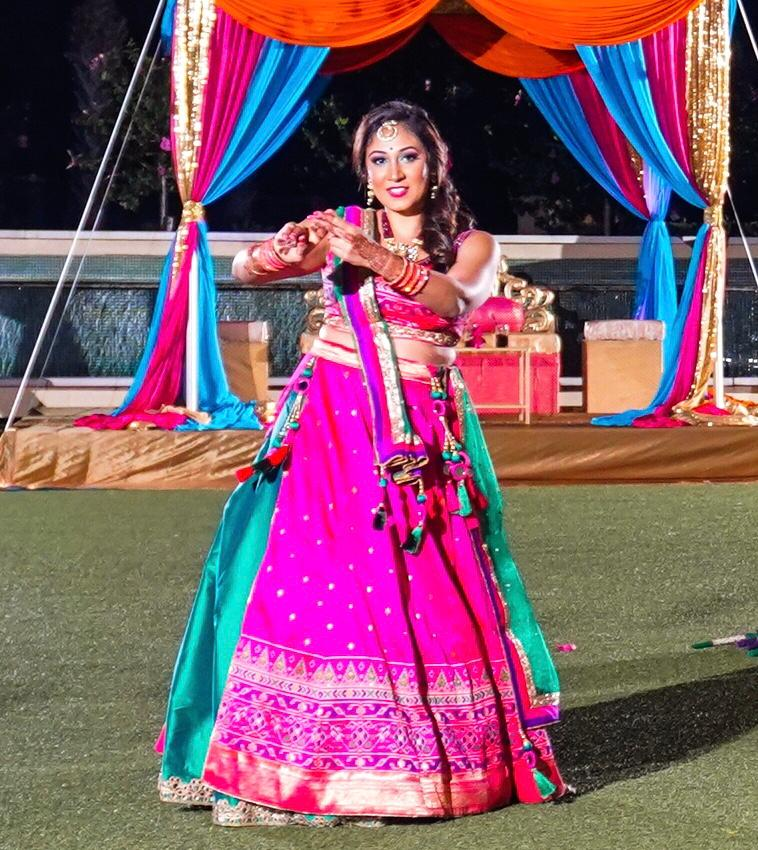 FUCHSIA AND TEAL GREEN LEHENGA