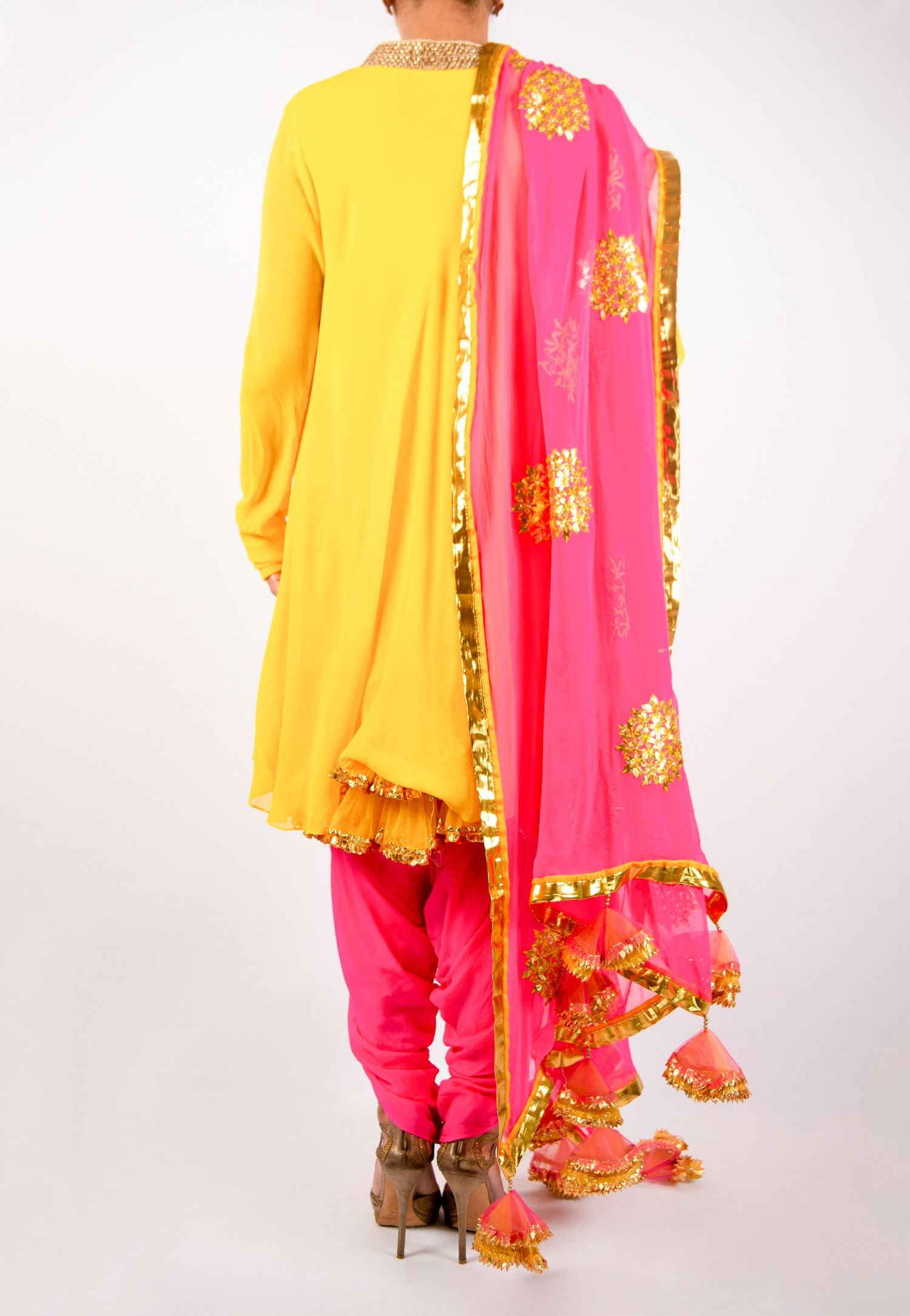 YELLOW AND PINK KURTA AND DHOTI SET