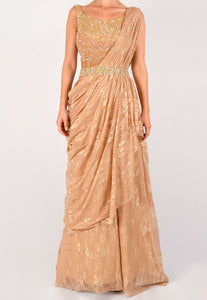 SUJATA AND SANJAY LACE AND SEQUIN SAREE GOWN WITH AN ORNATE BELT