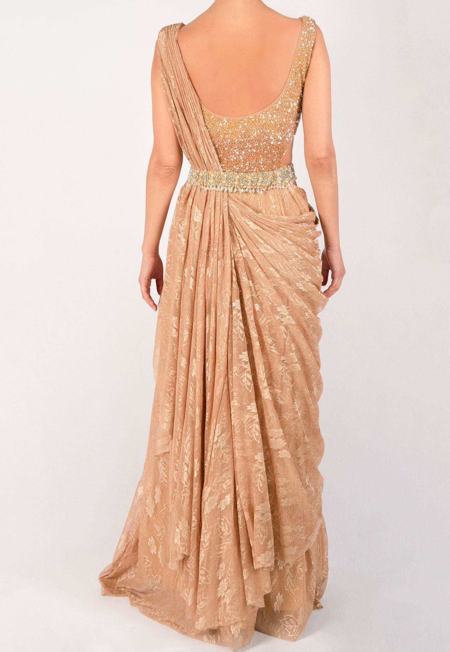 Sujata And Sanjay Lace And Sequin Saree Gown With An Ornate Belt Loverentreturn