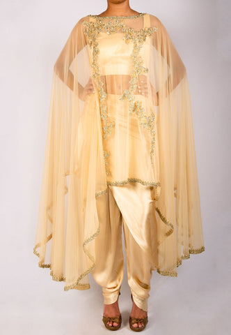 CHAMPAGNE GOLD DHOTI PANT SET WITH NET CAPE TOP