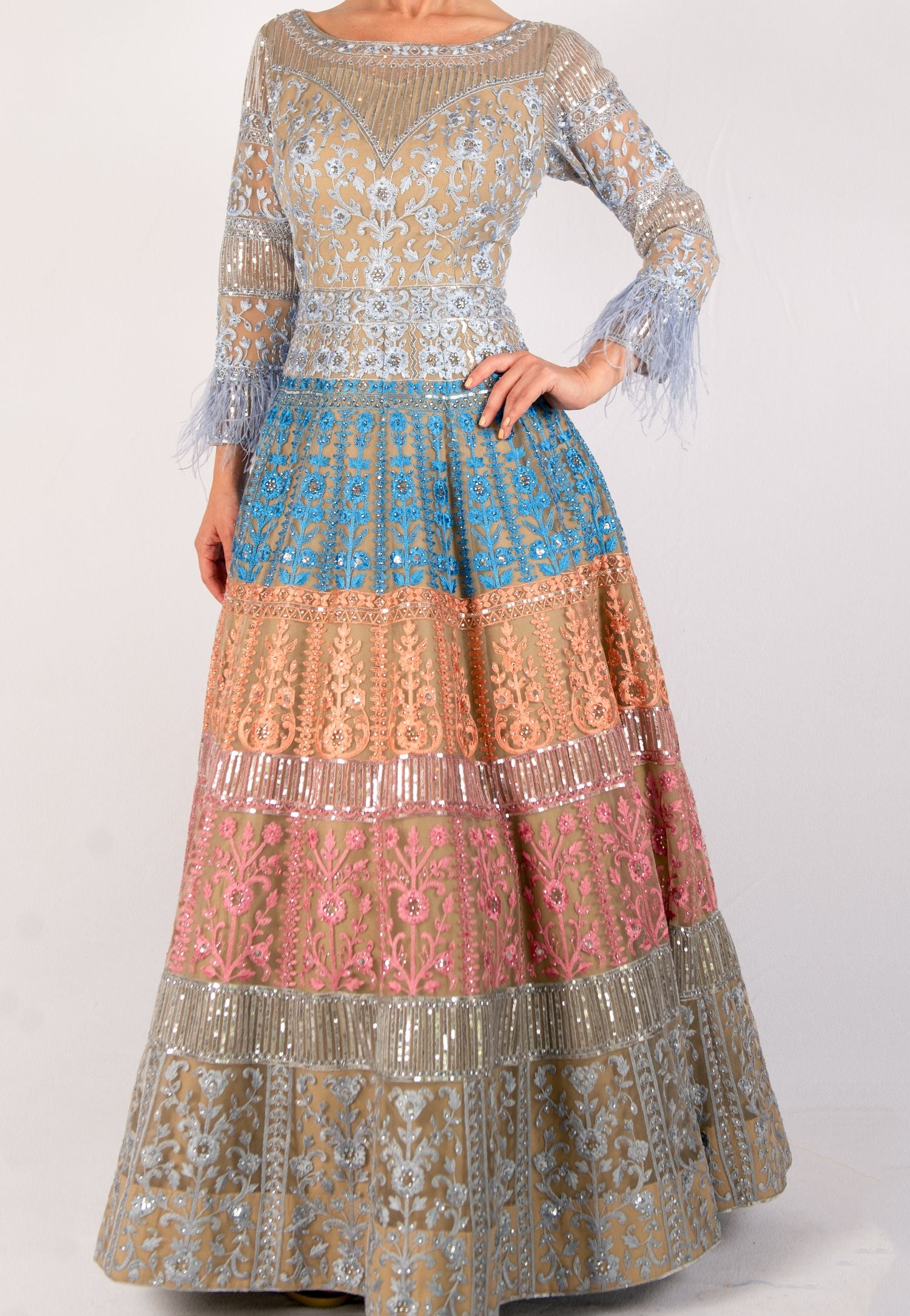 MULTICOLOR PASTEL EMBROIDERED ANARKALI