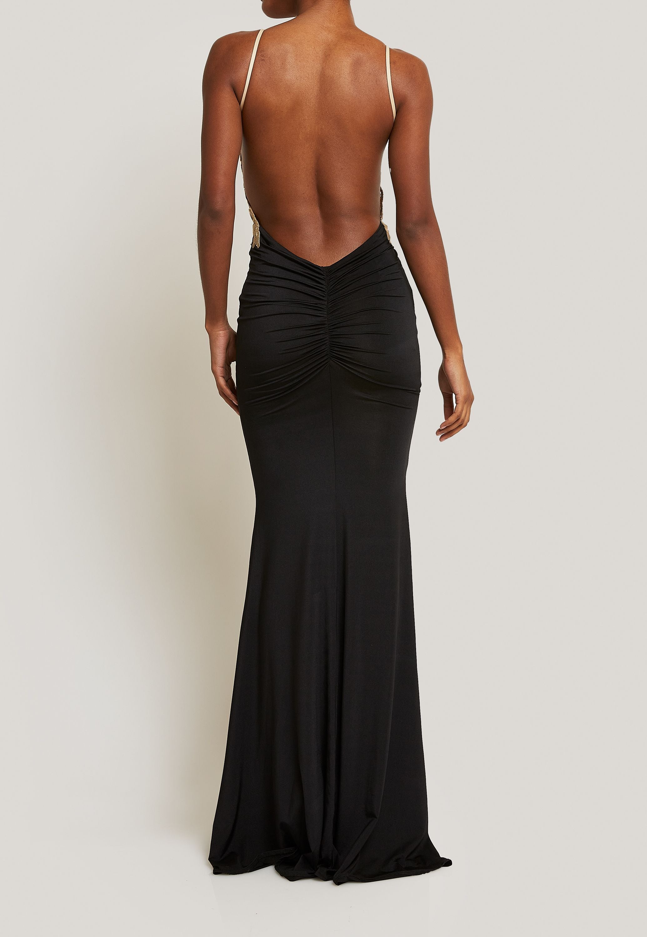 BODY FITTING BLACK BACKLESS GOWN WITH GOLD LACE BODICE