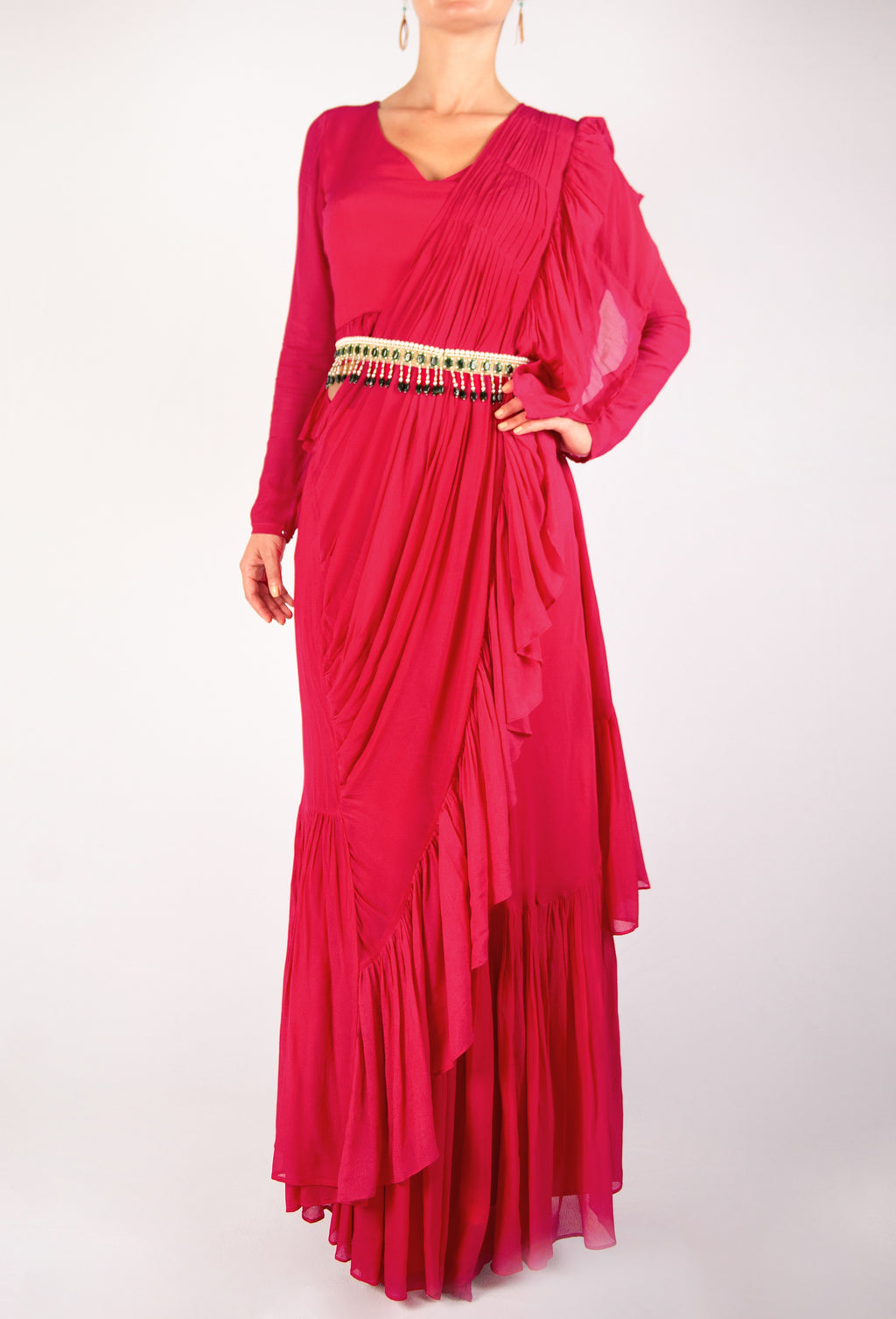 INSPIRED BY RIDHI MEHRA - DEEP PINK GEORGETTE STITCHED SAREE WITH RUFFLE DETAIL AND AN ORNATE PEARL BEADED BELT