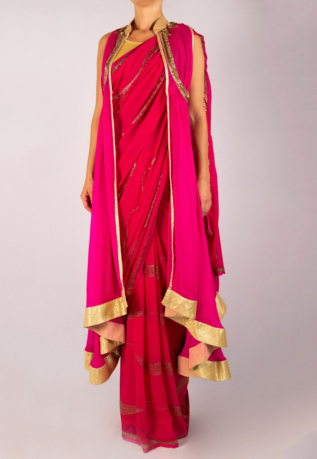 PINK SAREE WITH STYLISH AND ORNATE PINK CHIFFON JACKET WITH GOLD SWAROVSKI DETAIL