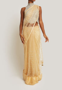 NET CHAMPAGNE GOLD SAREE WITH IRIDESCENT RHINESTONE BLOUSE
