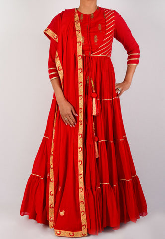 RED TIERED ANARKALI