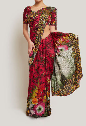 ARTISTIC PRINTED PINK CREPE SAREE DEPICTING A BUDDHA IMAGE WITH SWAROVSKI DETAIL