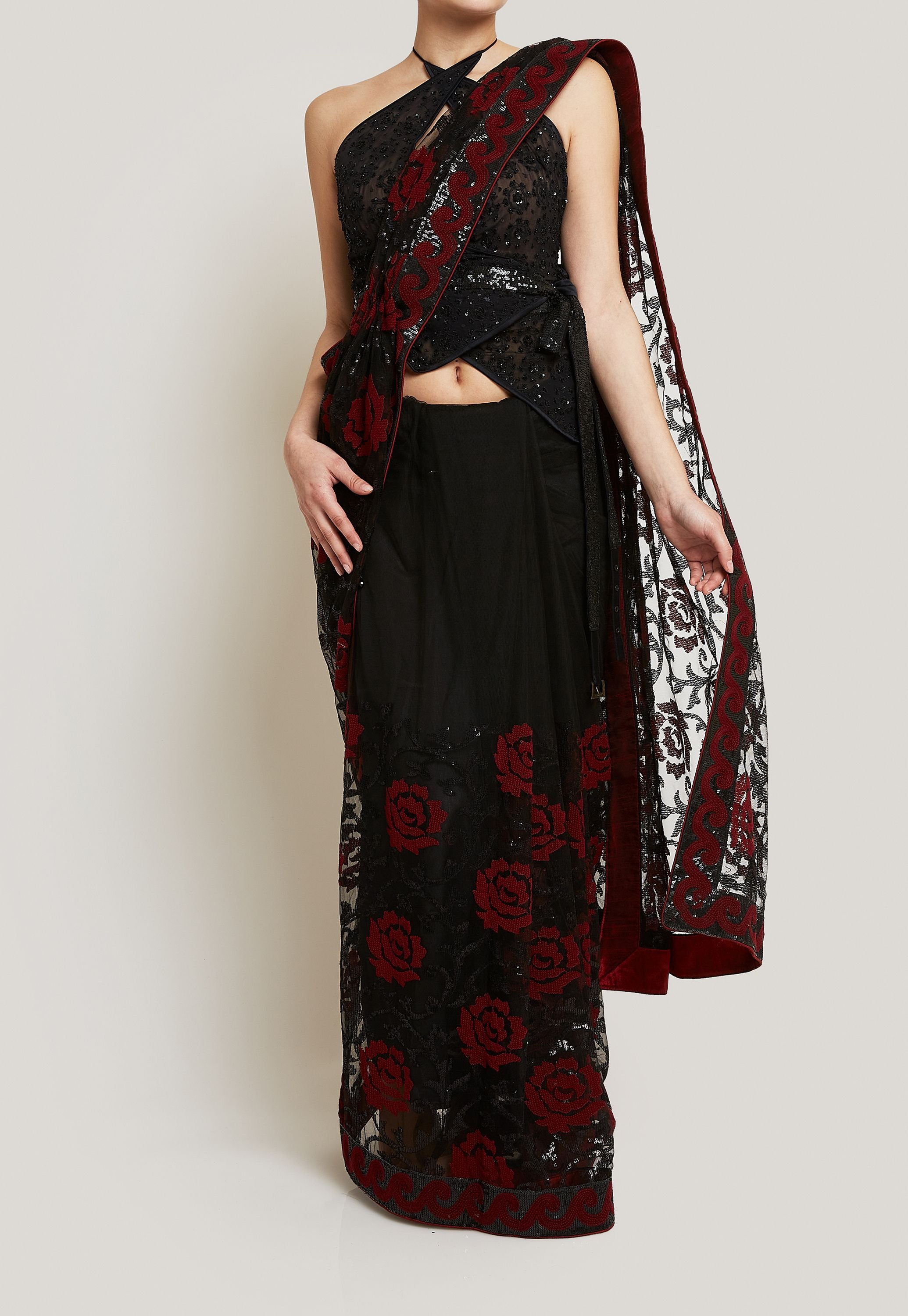 TARUN TAHILIANI FULLY SEQUINED WRAP AROUND BLOUSE AND A SEQUINED SAREE