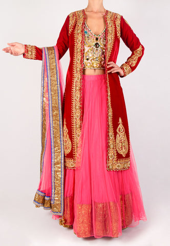RED VELVET JACKET WITH A PINK LEHENGA AND A GOLD BACKLESS BLOUSE