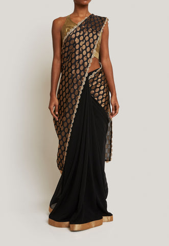 CHIFFON BLACK AND GOLD WOVEN SAREE WITH A GOLD BLOUSE
